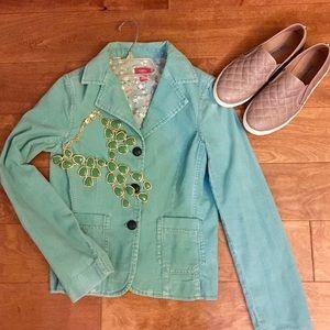 Well made seafoam green corduroy jacket